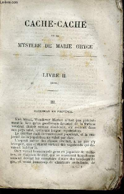 CACHE-CACHE OU LE MYSTERE DE MARIE GRYCE - TOME II / ROMAN ANGLAIS.