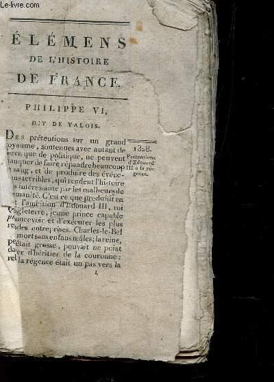 ELEMENS DE L'HISTOIRE DE FRANCE - PHILIPPE VI, DIT DE VALOIS
