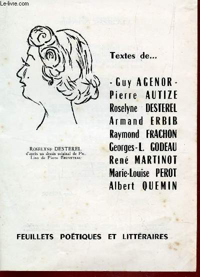 TEXTES DE GUY AGENOR - PIERRE AUTIZE - EOSELYNE DESTREREL - ARMAND ERBIB - R. FRACHON ...  / N°13 DES