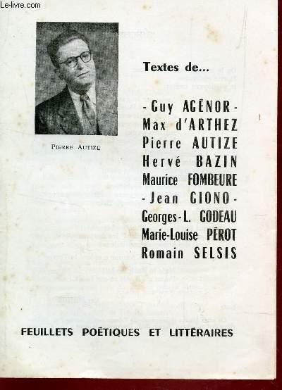 TEXTES DE GUY AGENOR - PIERRE AUTIZE -MAX D'ARTHEZ - HERVE BAZIN - M. FOMBEURE - J. GIONO  ...  /  DES