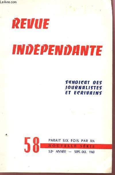 REVUE INDEPENDANTE - N°58 - 52e ANNEE - SEPT-OCT 1963 / JEAN COCTEAU MAGICIEN - DINA D'ANGELI - ROLAND LE CORDIER - UN CONTE