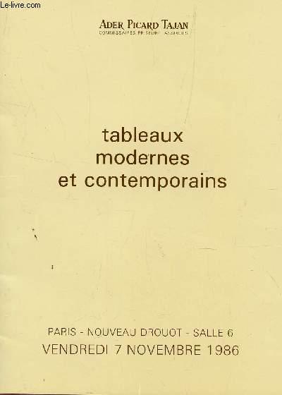 TABLEAUX MODERNES ET CONTEMPORAINS / VENTE AUX ENCHERES AU NOUVEAU DROUOT A PARIS LE 7 NOVEMBRE 1986.