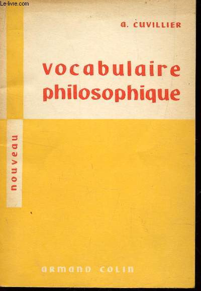 VOCABULAIRE PHILOSOPHIQUE  / SPECIMEN.