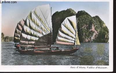 1 PHOTO-CARTE POSTALE COLORISEE DIMENSION 9 X 14 Cm : SUD DU VIET-NAM - SAIGON : baie d'along - voilier d'hainam - N°141  / CARTE POSTALE VIERGE.