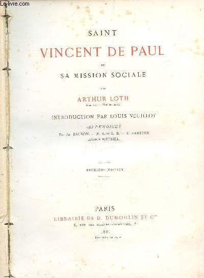 SAINT VINCENT DE PAUL ET SA MISSION SOCIALE / DEUXIEME EDITION.