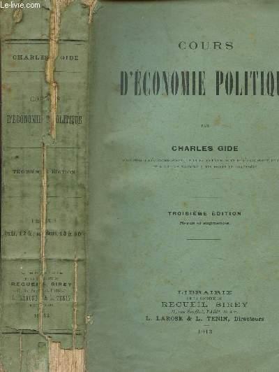 COURS D'ECONOMIE POLITIQUE / 3e EDITION.