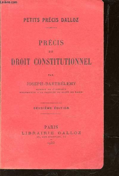PRECIS DE DROIT CONSTITUTIONNEL / COLLECTION