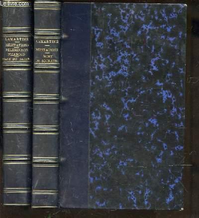 PREMIERES MEDITATIONS POETIQUES - LA MORT DE SOCRATE + NOUVELLES MEDITATIONS POETIQUES - LE DERNIER CHANT DU PELERINAGE D'HAROLD - CHANT DU SACRE / 2 VOLUMES.