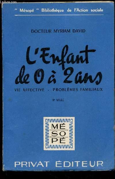 L'ENFANT DE 0 A 2 ANS - VIE AFFECTIVE - PROBLEMES FAMILIAUX / COLLECTION