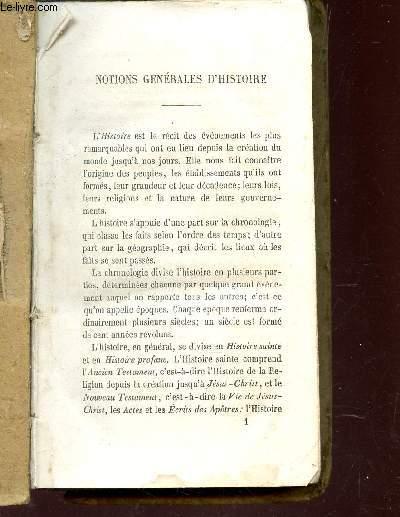 HISTOIRE SAINTE - HISTOIRE DE FRANCE.
