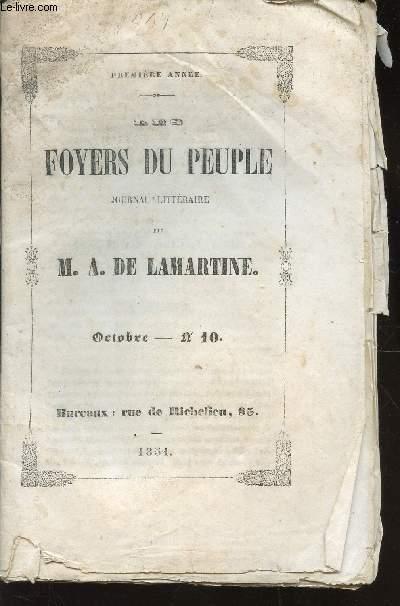 DES FOYERS DU PEUPLE -  JOURNAL LITTERAIRE DE M.A. DE LAMARTINE  / OCTOBRE - N°10 - PREMIERE ANNEE / SOUVENIR -.