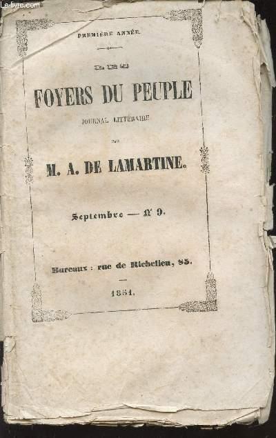 DES FOYERS DU PEUPLE -  JOURNAL LITTERAIRE DE M.A. DE LAMARTINE  / SETEMBRE - N°9 - PREMIERE ANNEE / LA FENETE DE LA MAISON PATERNELLE