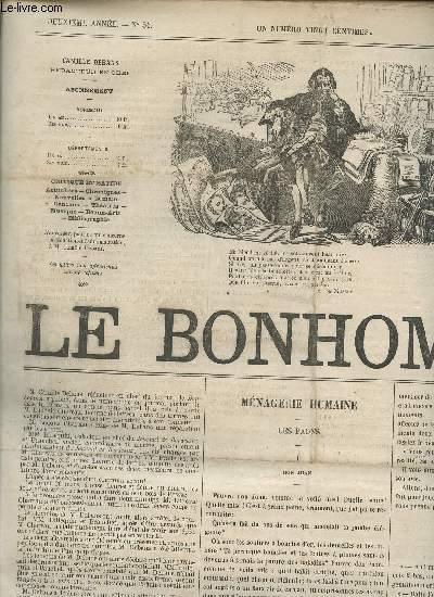LE BONHOMME - 2e ANNEE - N°54 - 26 MARS 1865 / MENAGERIE HUMAINE (LES PAONS) - GENIE ET FOI - C'EST ARRIVE! - CAMALET (NOS ENNEMIS) - DE OMNIBUS ETC....
