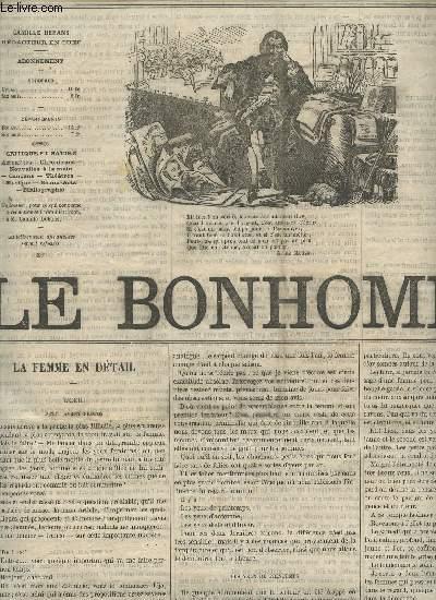 LE BONHOMME - 2e ANNEE - N°58 - 23 AVRIL 1865 / LA FEMME EN DETAIL (L'OEIL) - EXPOSITION DE LA SOCIETE DES AMIS DE L'ART - CORRESPONDANCE -DE LA MUSIQUE RELIGIEUSE - LES DEMOISELLES JULIA ET JULIETTE DELEPIERRE - DE OMNIBUS ETC....