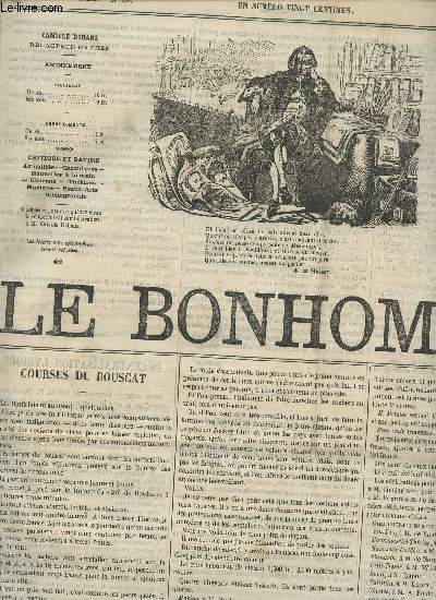 LE BONHOMME - 2e ANNEE - N°59 - 30 AVRIL 1865 / COURSES DU BOUSCAT - LES MEMOIRES DE CLEOPATRE - UNE BONNE OEUVRE - LA JEUNESSE DU ROI HENRI - LES CORNES DE Mme DE CHATEAUBRIAND -  GRAND THATRE - OMNIBUS ETC...