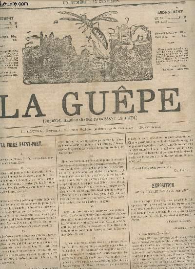 LA GUEPE  - 1ere ANNEE - N°19 - 18 MAI 1865 / LA FOIRE SAINT FORT - EXPOSITION DE LA SOCIETE DES AMIS DES ARTS - REVUE DES THEATRES - HISTOIRE DU COUPE NOIR - A TRAVERS LES FEUILLETONS- PROFILS MILITAIRES - ALCAEAR - BOURDONNEMENTS ETC....