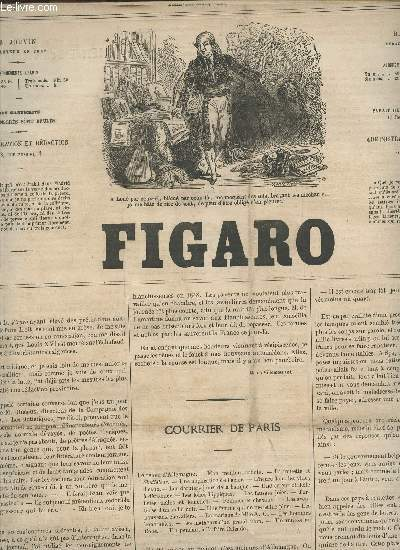 LE FIGARO - 12e ANNEE - EN JUIN  1865 / COURRIER DE PARIS - LETTRE D'UN CLOCHER EN GREVE - PETITES TABLETTES - LES FANTAISIES DE L'OMNIBUS - SURPRISES PARISIENNES - COUPS DE FOUET -  ETC...
