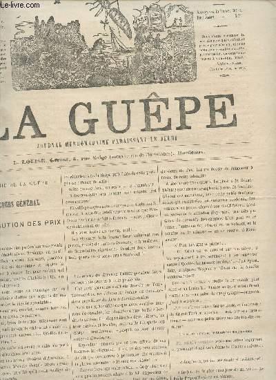 LA GUEPE  - 1ere ANNEE - N°32 - DU 17 AU 24 AOUT 1865 /COUCOURS GENERAL : DISTRIBUTION DES PRIX - SECTIONS DES LETTRES, DES ARTS, DES SCIENCES - BOURDONNEMENTS.