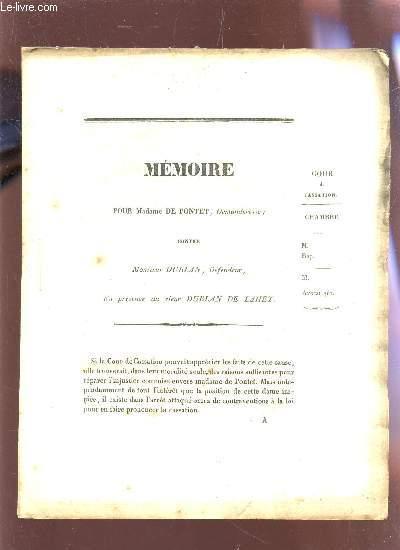 MEMOIRE POUR Mme DE PONTET CONTRE MONSIEUR DUBLAN.