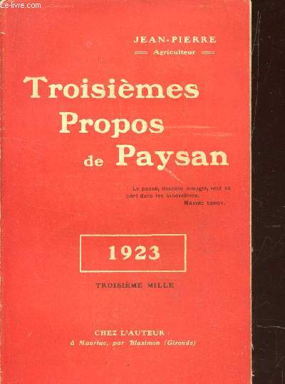 TROISIEMES PROPOS DE PAYSAN - ANNEE 1923.