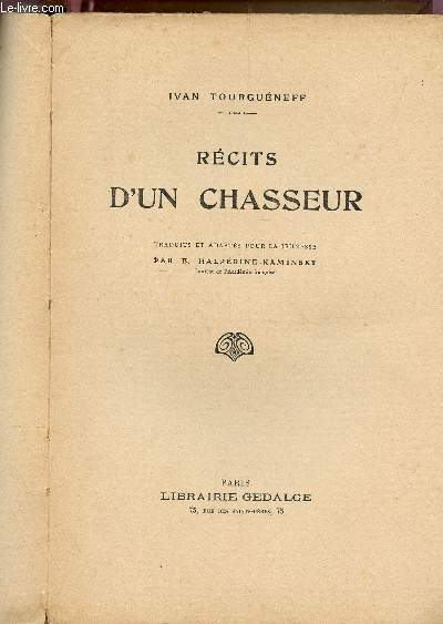 RECITS D'UN CHASSEUR.