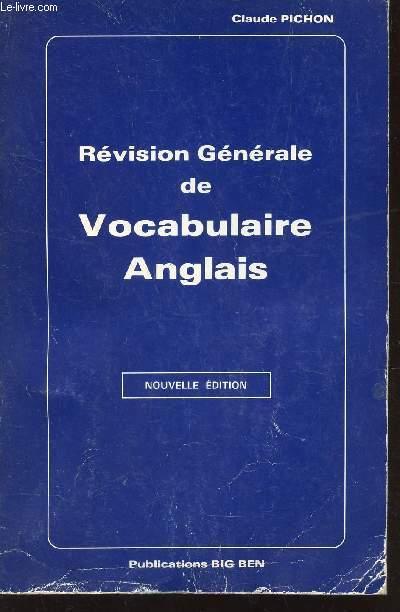 REVISION GENERALE DE VOCABULAIRE ANGLAIS.