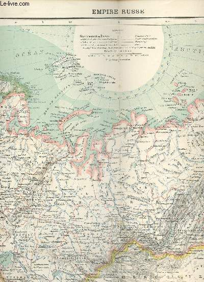 1 CARTE COULEURS DE L'EMPIRE RUSSE - N°37 - SUPPLEMENT DE L'ILLUSTRATION DU 15 JUIN 1889 (ATLAS DE GEOGRAPHIE MODERNE).