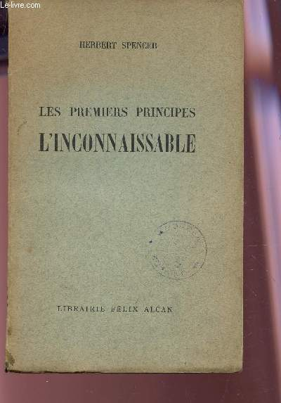 LES PREMIERS PRINCIPES : L'INCONNAISSABLE