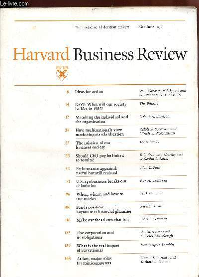 HARVARD BUSINESS REVIEW -Volume 53, number 3 - may-june 1975 / Ideas for action - RSVP : What will our society be like in 1985? - Matching the individual ans the organization - How multinationals view marketing standardization - The mission of our ETC....