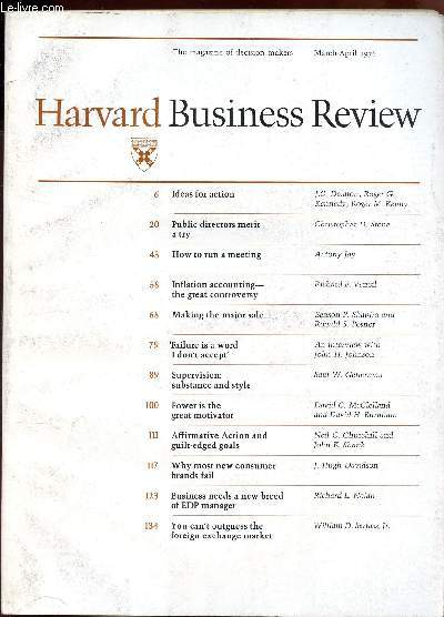 HARVARD BUSINESS REVIEW - volume 54, number 2 - marsh-april 1976 / Ideas for action - Public directors merit a try - How to run a meeting - Inflation acconting the great controversing - Tailure is a word I don't accept - supervision : substance and ETC...