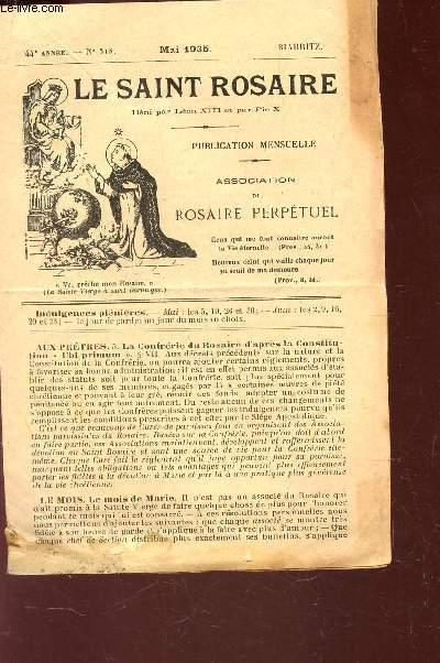 LE SAINT ROSAIRE - 44e ANNEE - N°518 - MAI 1935 - BIARRITZ.
