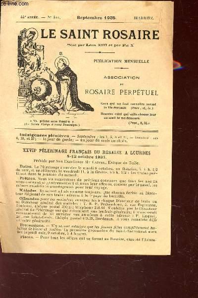 LE SAINT ROSAIRE - 44e ANNEE - N°522 - SEPTEMBRE 1935 - BIARRITZ.