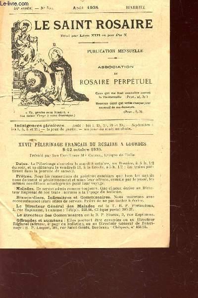 LE SAINT ROSAIRE - 44e ANNEE - N°521 - AOUT 1935 - BIARRITZ.