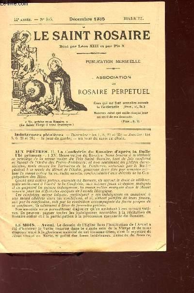 LE SAINT ROSAIRE - 44e ANNEE - N°525 - DECEMBRE 1935 - BIARRITZ.