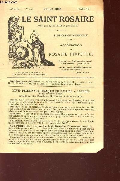 LE SAINT ROSAIRE - 44e ANNEE - N°520 - JUILLET 1935 - BIARRITZ.