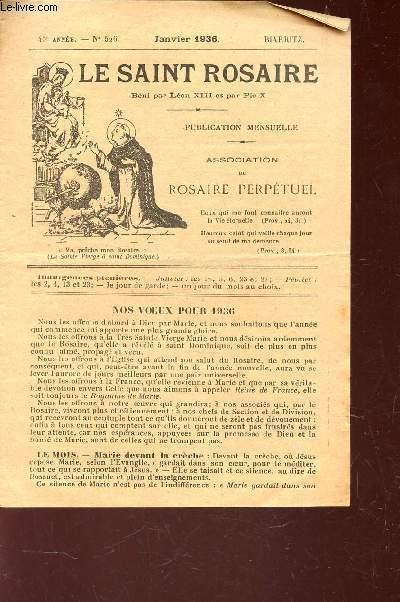 LE SAINT ROSAIRE - 45e ANNEE - N°526 - JANVIER 1936 - BIARRITZ.