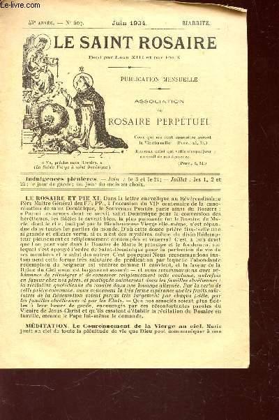LE SAINT ROSAIRE - 43e ANNEE - N°507 - JUIN 1934 - BIARRITZ.