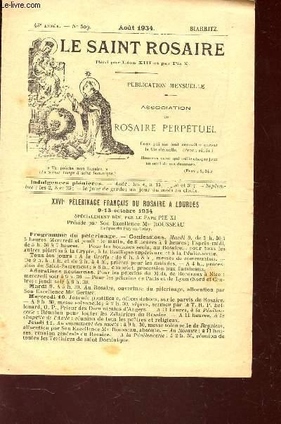 LE SAINT ROSAIRE - 43e ANNEE - N°509 - aout 1934 - BIARRITZ.
