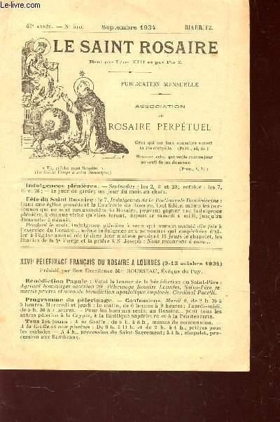 LE SAINT ROSAIRE - 43e ANNEE - N°510 - SEPTEMBRE 1934 - BIARRITZ.