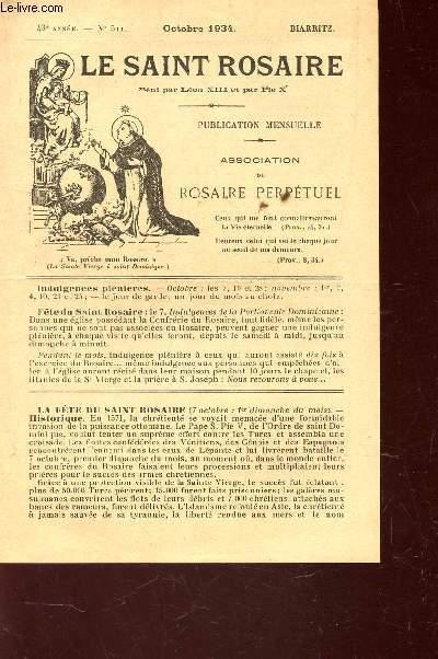 LE SAINT ROSAIRE - 43e ANNEE - N°511 - OCTOBRE 1934 - BIARRITZ.