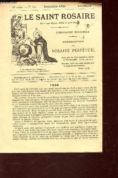 LE SAINT ROSAIRE - 43e ANNEE - N°513 - DECEMBRE 1934 - BIARRITZ.