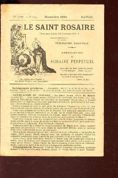 LE SAINT ROSAIRE - 43e ANNEE - N°512 - NOVEMBRE 1934    - BIARRITZ.