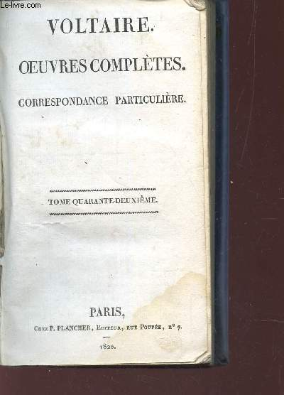 CORRESPONDANCE PARTICULIERE / COLELCTION OEUVRES COMPLETES - TOME 42.