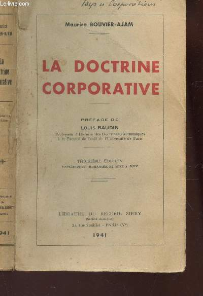 LA DOCTRINE CORPORATIVE / 3e EDITION.