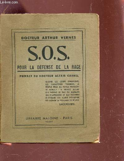 S.O.S. POUR LA DEFENSE DE LA RACE -