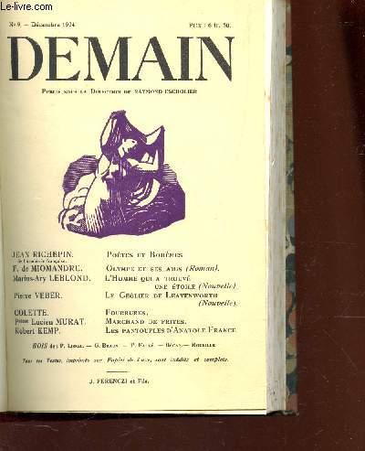 DEMAIN - N°9 - DEC 1924 / POETESS ET BOHEMES / Olympe et ses amis / L'Homme qui a trouvé une étoile / Le géolier de Leavenworth / Fourrures / Marchand de frites / Les pantoufles d'Anatole France etc...