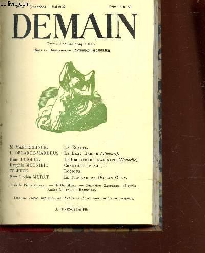 DEMAIN - N°14 - MAI 1925 / EN EGYPTE / LE BEAU BAISER / LE PROFESSEUR IMAGINATIF / CHAMFORT ET NOUS / LOGIQUE / LE PINCEAU DE DORIAN GRAY etc...