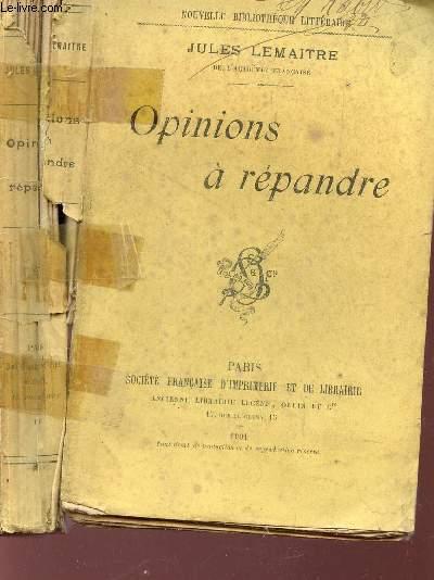 OPINIONS A REPANDRE / Nouvelle bibliothèque Littéraire.