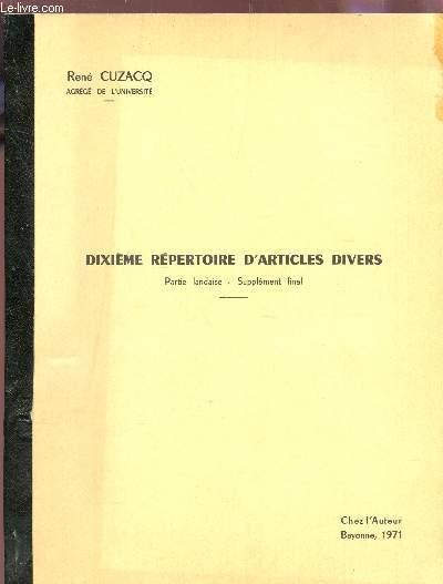 DIXIEME REPERTOIRE D'ARTICLES DIVERS : partie landaise - supplement final.