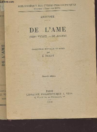 DE L'AME - DE ANIMA / COLLECTION BIBLIOTHEQUE DES TEXTES PHILOSOPHIQUES.